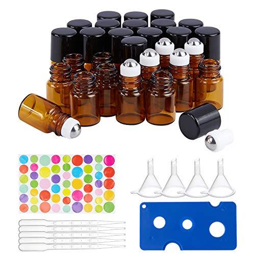 BENECREAT 30 Pack 2ml Botella de Rodillo de Vidrio Ámbar con Tapa Negra Mini Botella de Aceite Esencial Marrón con Embudos, Abridor, Goteros y Hoja de Adhesivo para Perfume, Aromaterapia
