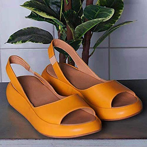 AKQITHJK Women'S Sandals,Yellow Platform Fashion Elastic Band Anti-Slip Women Slippers Soft Comfortable Home High Heels Sandals Outdoor Beach Travel Casual Shoes-38