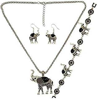 Vintage Sliver Good Luck Elephant Necklace Pendant Feathers Chain Tassel, Elephant Earrings, Elephant Necklace,Elephant Bracelet Set for Women Girls