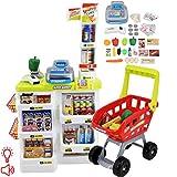 deAO Mega Supermarche Commerçant Aliments Magasin - Étal de Marché avec Caddie et Accessoires Inclus