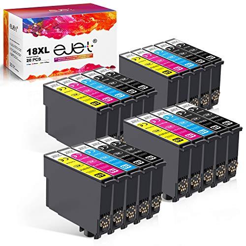 ejet Kompatibler Ersatz für Epson 18XL 18 XL Tintenpatronen für Epson Expression Home XP-425 XP-422 XP-415 XP-412 XP-325 XP-322 XP-315 XP-302 XP-402 Printer (8 Schwarz 4 Cyan 4 Magenta 4 Gelb) 20 Pack