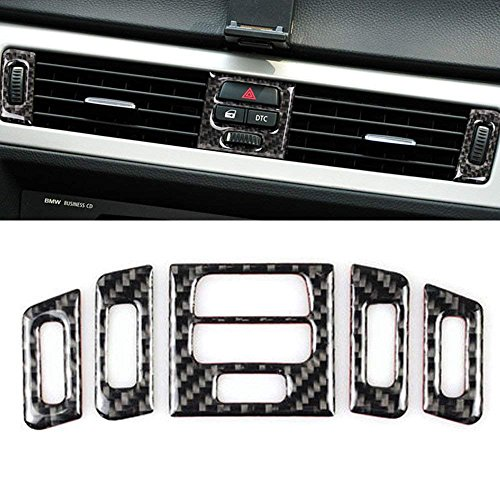 Thor-Ind Carbon Fiber Central Air Conditioning Vent Outlet Cover Trim Frame for BMW Old 3 Series E90 E92 E93 2005-2012 Car Interior Decor Decal (Central Air Conditioner Outlet Decoration, A Style)
