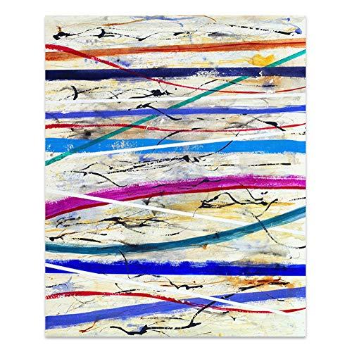 HOMEDCR Abstrakte Poster Farbstreifen Leinwand Malerei Wand Künstler Dekoration Wandaufkleber
