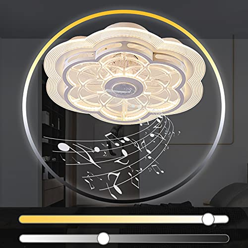 Plafon Ventilador Techo con Luz LED Infantil Mando a Distancia Bluetooth Altavoz Música Lamparas con Ventilador de Techo con Lampara Iluminación Silencioso Industrial Regulable Dormitorio Salón Dormir