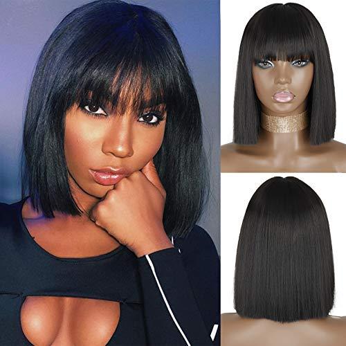 MERISIHAIR Short Black Bob Wig with Bangs,Straight Black Synthetic Short Bob Wigs for Black Women,Natural Bob Middle Part wig Shoulder Length Hair 11inch(Color:Black).