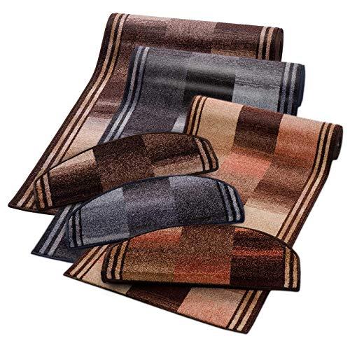 casa pura Teppich Läufer rost Gemustert | Qualitätsprodukt aus Deutschland | GUT Siegel | kombinierbar mit Stufenmatten | 3 Farben in vielen Breiten und Längen (67 x 450 cm)