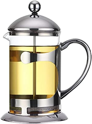 Frjjthchy Heat-resistant Press Coffee Maker Durable Easy Clean Travel Coffee Maker Perfect Gifts for Coffee Tea Lovers (Silver)
