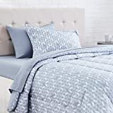 AmazonBasics 5-Piece Light-Weight Microfiber Bed-In-A-Bag Comforter Bedding Set - Twin or Twin XL, Grey Leaf
