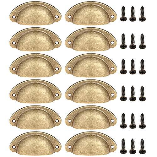 Tiradores para puertas de armario, BETOY 12PCS Tiradores de Metal Vintage Manillas Manijas para Puertas de Muebles Antiguos Armarios Cajones de Habitación Cocina Baño