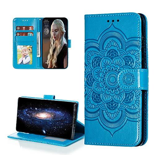 COTDINFORCA Hülle for Samsung Galaxy A11 Hülle Flip,Samsung M11 Cover PU Leder Schutzhülle Magnet Handytasche Bookstyle Kartenfächer Lederhülle Handyhülle für Galaxy A11/M11 Blue Mandala LD.