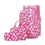 JiaYou Girl Geometric Printed Primary Junior High University School Bag Bookbag 3pcs Backpack Sets(2# Rose-3pcs,35 L)