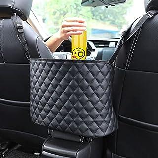 Car Handbag Holder Large Car Net Pocket PU Bag Handbag Holding for Between Seats Car Purse Car Seat Storage (BLACK-01)