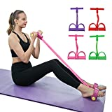Diniwei 4-Tube Pedal Resistance Band, Sit-up Pull Rope Tension Rope Fitness Equipment for Waist,...