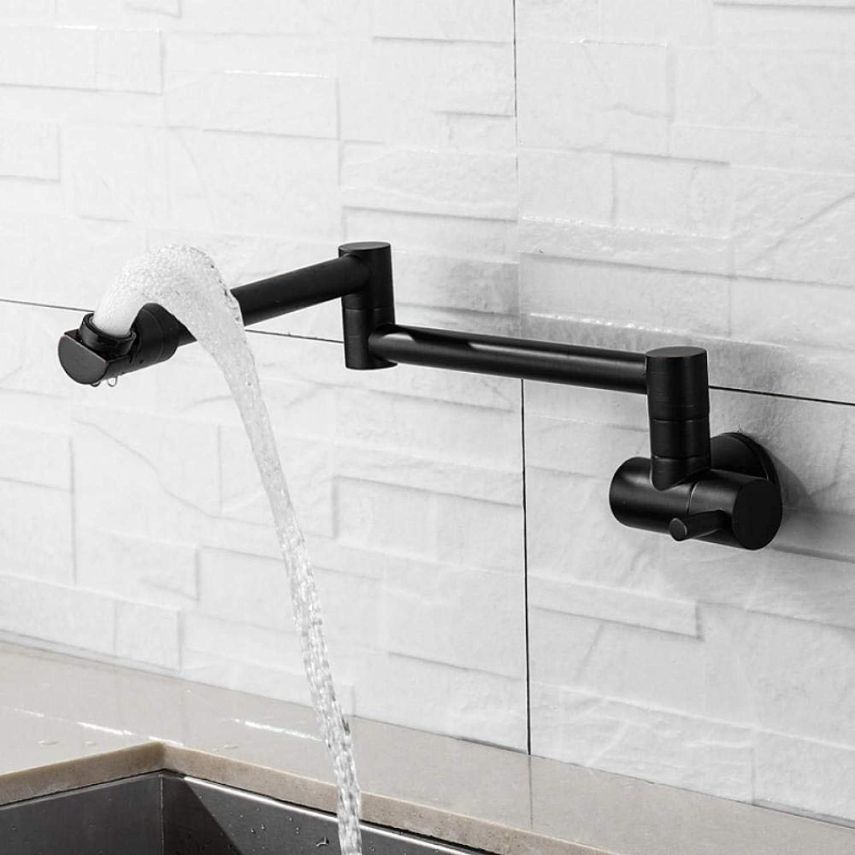 Lddpl Wasserhahn 360 Grad Schwarz Wandmontage Einzigen Kaltwasserhahn Massivem Messing Swivel Folding Kitchen Sink Becken Wasserhahn