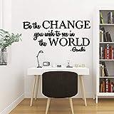 Creative be The Change You Wish to See Autocollant en vinyle imperméable en PVC pour décoration de maison, 42 x 91 cm