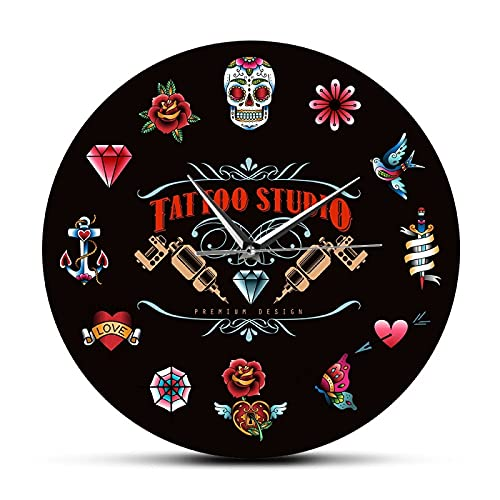 Reloj de Pared Estudio de Tatuajes Diseño Premium Reloj de Pared Moderno Negro sin tictac Estilo Vintage Hipster Hombres Salón Estudio Tatuador Artista Regalo