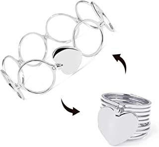 Tuoke-peri Enhancers Statement Heart Ring 2-in-1 Folding Bracelet Retractable Engagement Ring Bracelets for Women and Girls