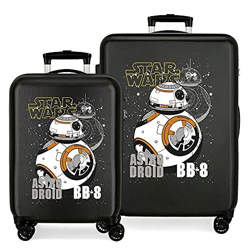 Star Wars Droids Juego de Maletas Negro 55/68 cms Rígida ABS Cierre de combinación Lateral 104 6 kgs 4 Ruedas Dobles Equipaje de Mano
