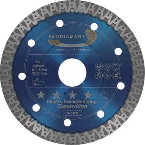 PRODIAMANT - Disco da taglio diamantato per piastrelle in gres porcellanato F40, 115 mm x 22,2 mm, per smerigliatrice angolare