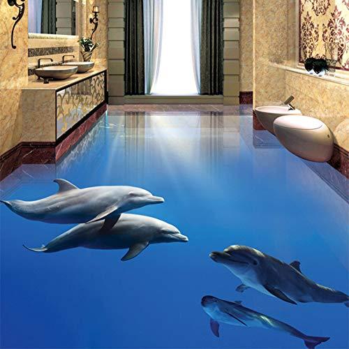 Mddj fotobehang, modern, dolfijn motief, onderwaterwereld, 3D-tegels, zelfklevend, voor badkamer, slaapkamer, PVC, waterdicht, huisdecoratie, behang 250 x 175 cm.