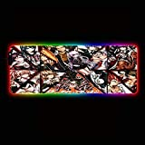 Desk Pads Anime Danganronpa Character Large Led RGB Gaming Illuminated Gamer Mousepad Colorful Rainbow Lighting Mouse Mat for Pc Laptop Desktop,27.6×11.8 Inches