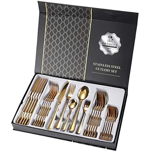 XIAOLUO Edelstahlbesteck 30-teiliges Set, zweizeiliges 5-teiliges Besteck und Löffel für Essgeschirrset für die Küche zu Hause, Platz für 6 Personen, Geschenkbox goldenes 30-teiliges Set