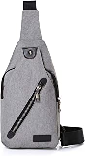 Luxury 3 Colors Canvas Chest Bag Fashion Men's Polyester Sling Bags Chest Pack Crossbody Men Bag (Color : Gray)