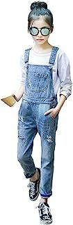 Kidscool Space Girls Big Bibs Pocket سوراخ سوراخ لباس شلوار جین پنبه ای شسته شده