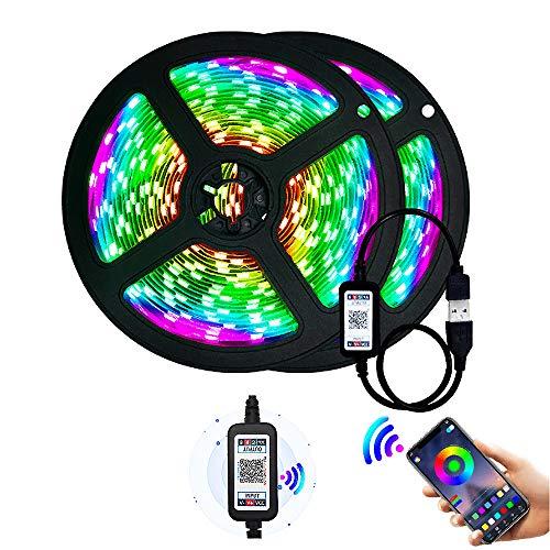 YMXLJJ Nachtlichtstreifen, LED-Streifenlichter, Intelligente Bluetooth-APP-Steuerung RGB-Farbwechsel-Musiksynchronisationsstreifenlichter, LED-Bandlicht-Komplettset für Zuhause, Weihnachten,A2835 14