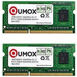 QUMOX 8GB (2 x 4GB) 1600 DDR3 da 4 GB PC3-12800 SO-DIMM PC3 RAM Memoria del Computer Portatile 204pin CL11