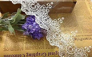 Cortinas de encaje florales para vestido de novia/boda, tela, para mesa, manualidades, festón, recortado, 5 yardas, 10 cm de ancho, ALE03, blanco, 5 yards