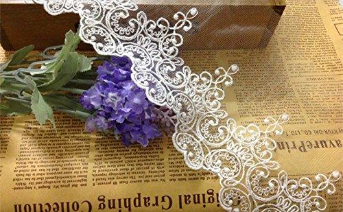 Spitzenbordüre, Blumenmuster, Brautschmuck, Hochzeitskleid, Tischdecke, DIY, Basteln, Jakobsmuschel, Applikation, Kleidung, Vorhänge, 4,5 m, 10 cm breit, ALE03 4,5 m weiß