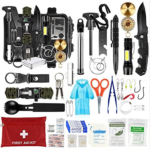 LC-dolida Survival Kit 54 in 1, Außen Notfall Survival Kit Erste Hilfe Set mit Messer/Taktische Taschenlampe/Armband/Kompass/Überlebenspaket für Camping/Bushcraft/Wandern/Jagden/Outdoor Abenteuer