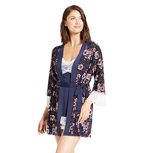 Nanette Lepore Womens 2 Piece Lace Trim Floral Print Nightgown Robe Set Deep Navy Large
