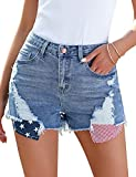 Lookbook Store Women Casual Denim Shorts Ripped 4th of July American Flag Independence Day Pocket Frayed Stretchy Short JeansBlue Size L