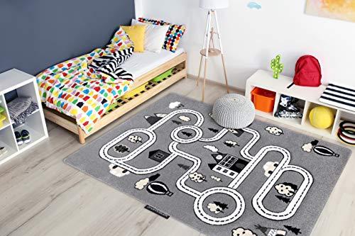 Tapis Enfant Petit pour Chambre de bébé, Tapis de Jeux, Chambres d'enfants, Town Ville Rues Gris 280x370 cm