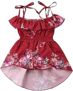 LXXIASHI Toddler Kids Baby Girl Off Shoulder Vintage Floral Dress Princess Dress Halter Ruffle Sleeve Holiday Skirts for Kids