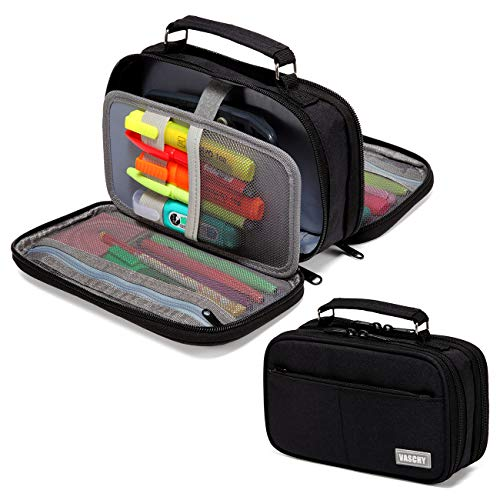 Pencil Case,VASCHY Large Pencil Pouch with Compartments for Middle School,Work,Office Pen Organizer Holder School Supply Black