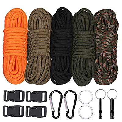 WEREWOLVES Paracord Combo Kits - 550/350lb Type III Paracord Ropes Survival Parachute Cord Making lanyards,Keychain,Carabiner,Dog Collar,Bracelet