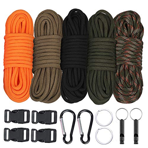 WEREWOLVES Paracord Cord, Multicolor Survival Paracord 550 Bracelet Crafting Kit with Buckles and Carabiner, 20 Feet Each Color Paracord Rope (550lb 100FT-B)