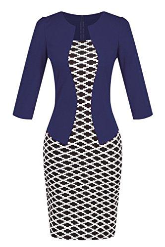 YMING Women Dress Business Work Knee Length Dress 3/4 Sleeve Party Dress Blue XS