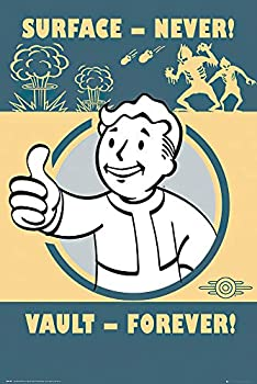 POSTER STOP ONLINE Fallout 4 - Gaming Poster/Print  Vault-Tec/Vault Boy - Surface - Never Vault - Forever   Size 24  x 36