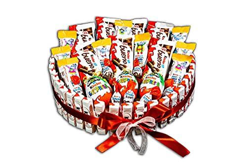REGALO DULCE Torta al cioccolato Kinder da regalare, cesto regalo kinder con 70 cioccolatini kinder, scatola regalo kinder bueno a forma rotonda, 30x30 cm