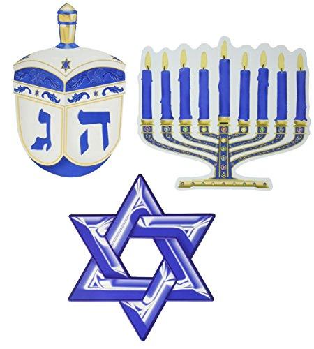 Beistle Hanukkah Cutout Decorations-3 Pcs, Multicolored