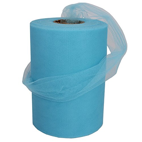 XiangGuanQianYing Sky blue Tulle Spool 6 Inch x 100 Yards for Tulle Decoration