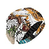 ZANSENG Slouchy Beanie Hats, Chinese Dragon Versus Tiger Landscape Cascada Gorra para Dormir Cubierta de Calidad para la Cabeza para Mujeres con Cabello Rizado Gorras Suaves y Suaves para Dormir