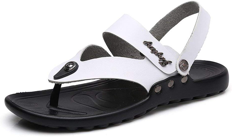 Oudan 2018 Sandalen Männer Casual Thong Flip Flops Schuhe aus Echtem Leder Strand Hausschuhe Rutschfeste Sohle Sandalen (Farbe   Blau, Größe   40 EU) (Farbe   Weiß, Größe   46 EU)  | Exzellente Verarbeitung