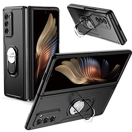 hodudu Carcasa rígida ultrafina de PC compatible con Samsung Galaxy Z Fold 2 5G con soporte de anillo magnético giratorio de 360°, antiarañazos, resistente a golpes (negro)