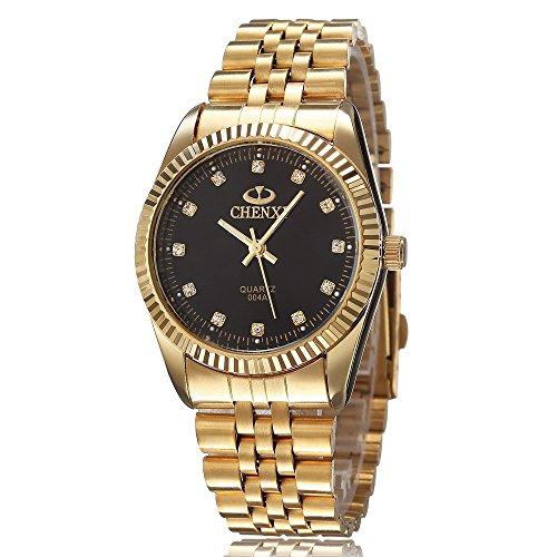 XLORDX Herren Armbanduhr Business Casual Analog Quarz Gold mit Edelstahl Schwarz