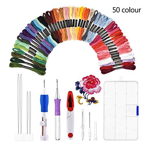 Kit de bordado, BASEIN combinación de juego de herramientas artesanales de aguja de...